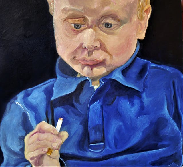 Michael Hanrahan You cant teach an old dog new tricks but you can teach a baby to smoke sticks Painting Drawing and Printmaking