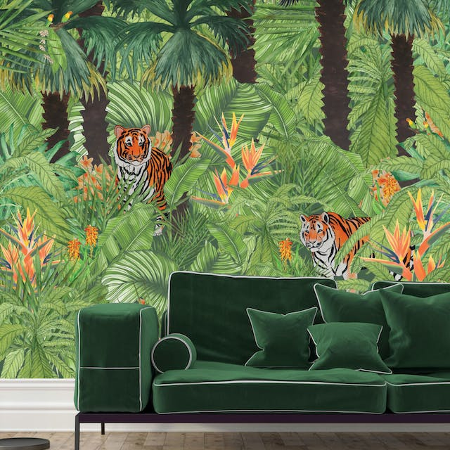 Belinda Bayley Tigers On The Lookout visualisation from my Paradise Lost and Found collection photograph is not my own used for visualisation purposes only Printed Textile Design and Surface Pattern