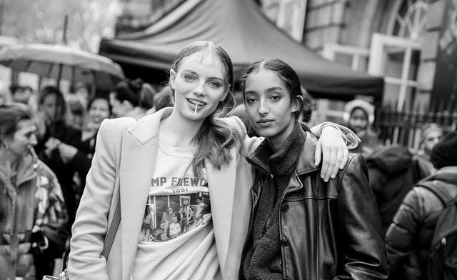 Fran Summers and Mona Tougaard outside the Paco Rabanne show by BA (Hons) Fashion Media & Marketing student Georgia Ley