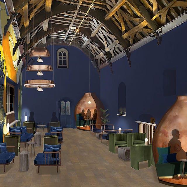 Virtual render of interior design plans by Morwenna Franks