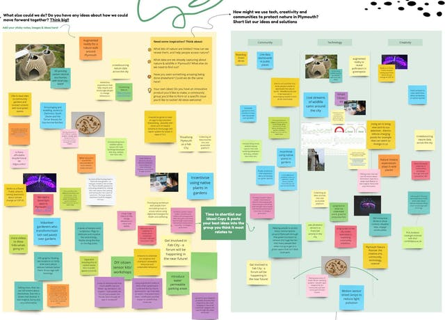 Image shows a wall of coloured post it notes, quotes and images