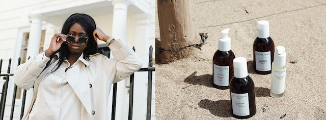 Image is a composition of images, on the left a woman of colour wears a cream coat and looks over her tortoiseshell sunglasses straight down the camera, on the right is a composition of beauty products, with brown bottles and white lids nestled in sand