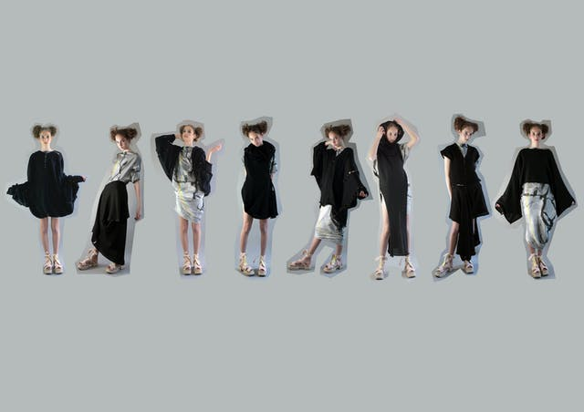 Image shows multiple images of the same woman dressed in monochromatic dresses and outfits from Eve Copper's collection