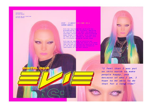 Image shows a composition similar to a magazine layout featuring a bright pink background and neon text saying Evie along with images of Evie a half human half robot influencer character