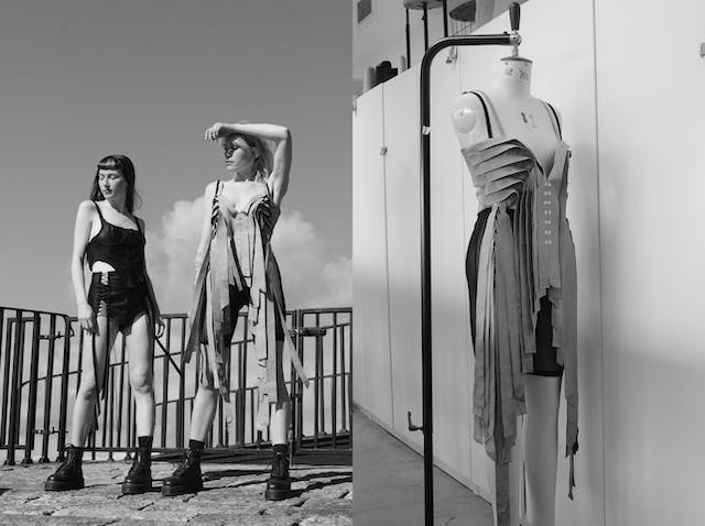 Image is a composition of black and white images, on the left there are two women stood in Phoebe's dresses which are black and grey with textural fabric elements, on the right is Phoebe's grey dress, with textured fabric, hanging on a mannequin
