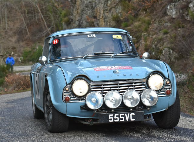 Peter Barker and navigator Peter Scott in Peter_s 1963 Triumph TR4 on the 2018 Rallye Monte Carlo Historique - They finished 125th overall (from 340 starters) and 3rd British national team car on the event - Image by Retrospeed