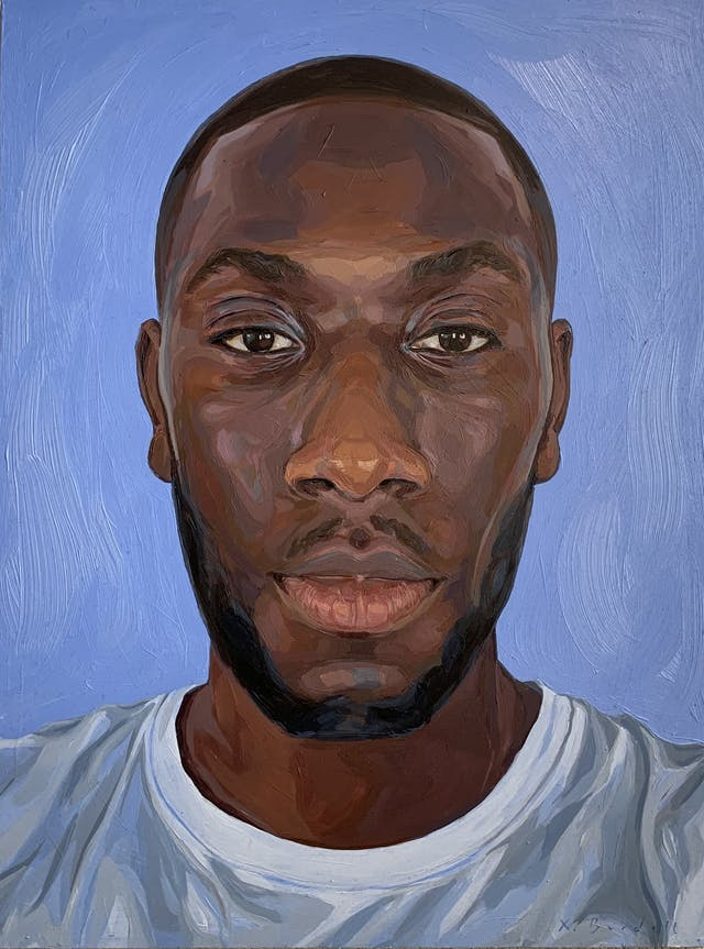 A painting of Afolabi Alli, a portrait of a black man with short black hair and beard wearing a white tshirt in front of a blue background