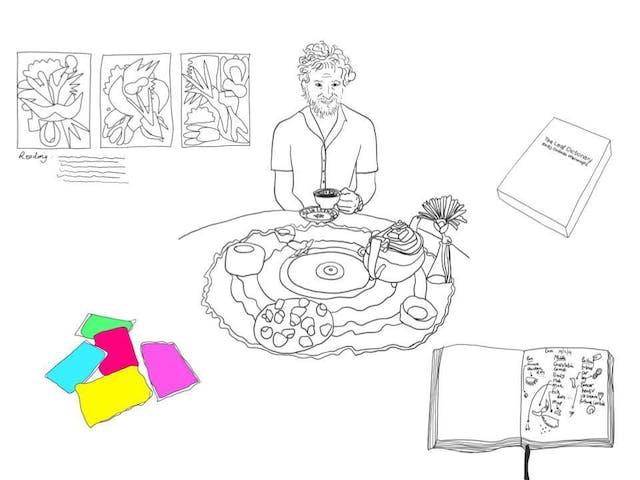 Becky Dodman plymouth college of art textiles tasseography sketch