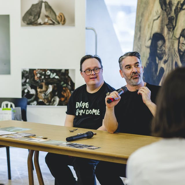 "alt=""Taking place at Plymouth College of Art's Tate Exchange event, three representatives from The Radical Beauty project host a panel talk about down syndrome, beauty and representation."""