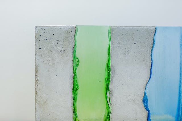 Concrete and glass sculpture by Colin Wilkes, BA (Hons) 3D Design Crafts