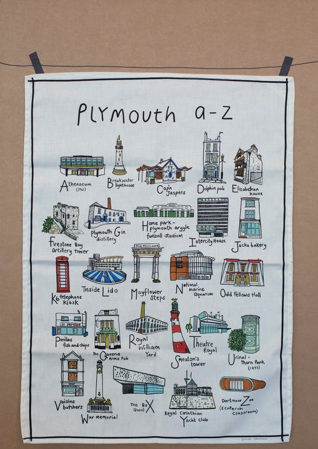 Sarah Smalldon Plymouth a to z teatowel Made in Plymouth