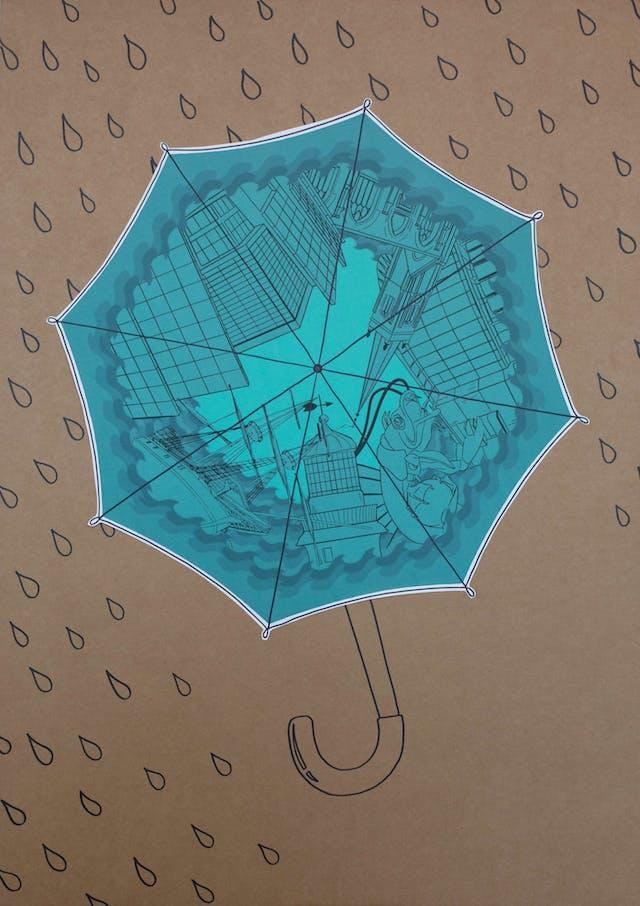 Sean Weller Made in Plymouth umbrella design