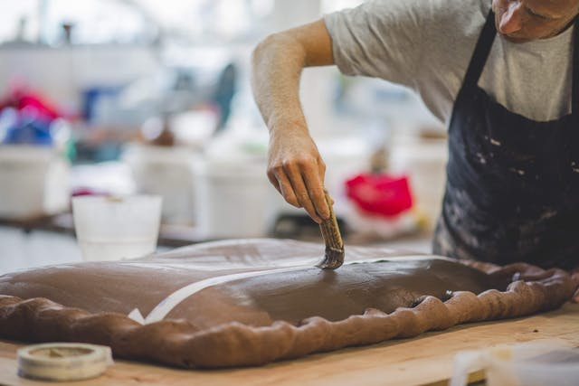 Simon Bayliss at work in the ceramics studio at Plymouth College of Art 3