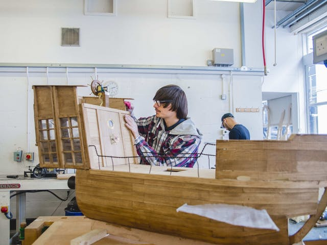 Elliot Rowe building to scale ship for short film BA Hons Animation 1