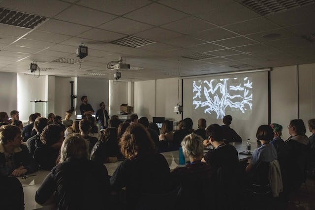 Plymouth College of Art students watch Xavi Boves Tree of Memory for the first time