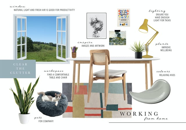 Working From Home Moodboard created by Jemma Barnard BA (Hons) Interior Decoration, Design and Styling