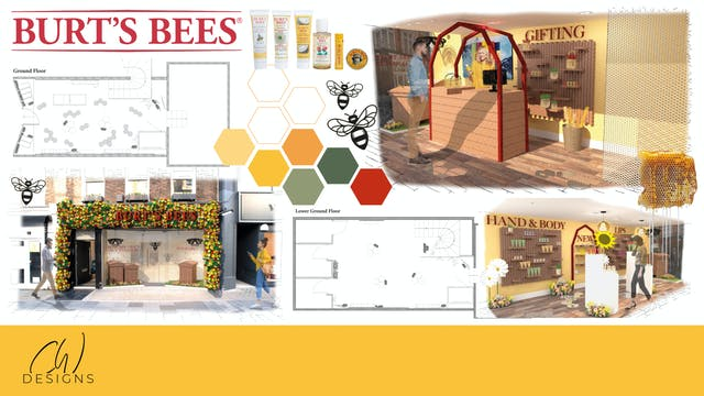 Plymouth College of Art graduating Interiors student Chloe Wickham mood board for final major project featuring Burts Bees, interior and exterior shots, coloured hexagons, floor plans and products in autumnal tones