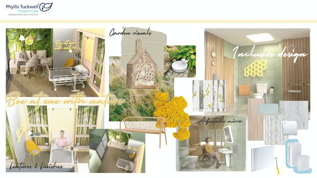 Plymouth College of Art graduating Interiors student Lily Hearmon-Cush's mood board for final major project, an end of life suite featuring interior mock ups, products and textures and textiles