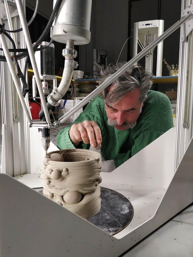3 D printed vase by WASP and Andrea Salvatori credit WASP