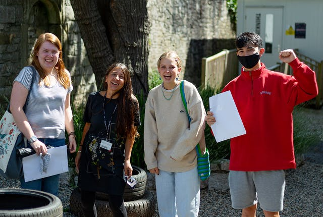 IBCP students at Plymouth College of Art celebrate their results L R Katie Baker Curriculum Manager for Academic Studies Michelle Lester Robyn De Jager Sean Rump Summer 2021