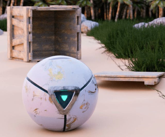 In the middle of the image shows a spherical white robot with a triangle 'eye' in the middle, it looks like it's on a beach with a wooden crate opened in the background