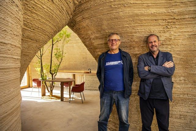Massimo Moretti and Mario Cucinella in TECLA 3 D printed house credit WASP and Mario Cucinella Architects