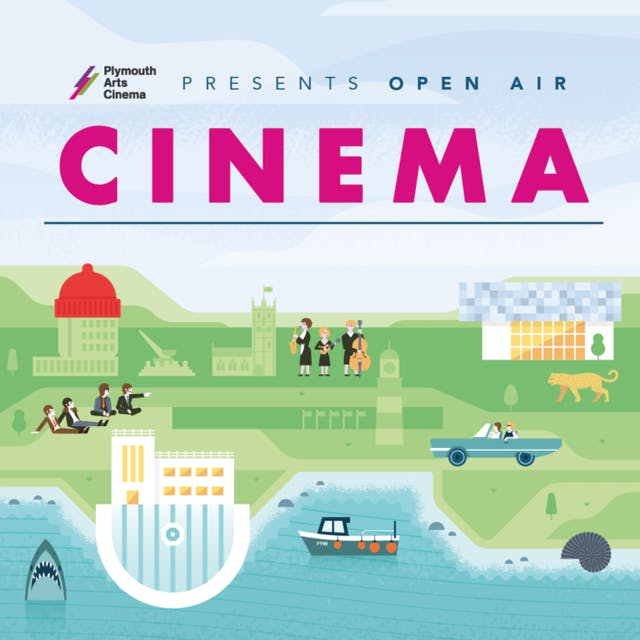Illustration shows Plymouth Hoe and Tinside Lido in vector illustration form featuring classic landmarks and famous events including Smeatons Tower and The Beatles