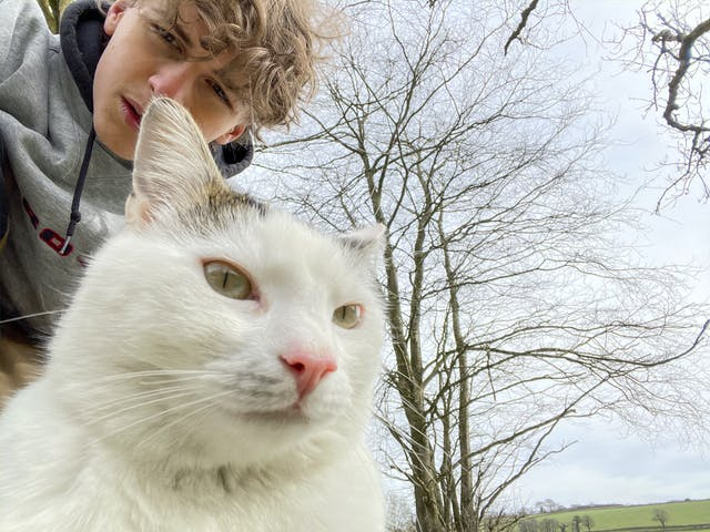 Extended Diploma Photography student Nicolas Gruzdev with his cat Arthur